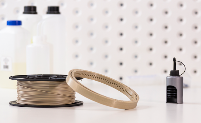 Radiation-resistant bearing ring for a spacecraft gimbal 3D printed with Z-PEEK. Photo via Zortrax.
