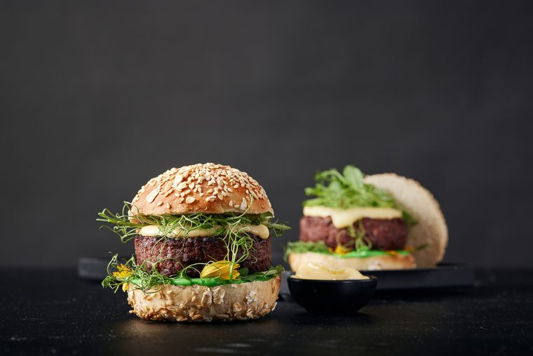 The Redefine Burger – reportedly the world's first 3D printed premium restaurant-style burger, packing 170 grams of New-Meat. Photo via Redefine Meat.