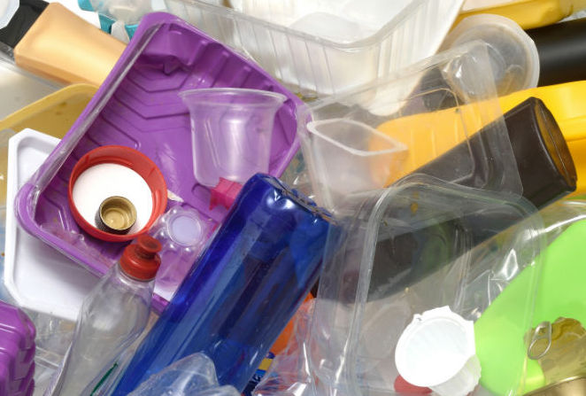 A pile of plastic waste products.